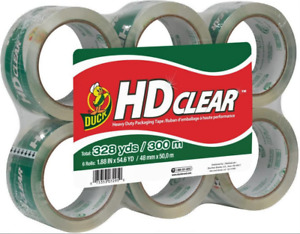 New Duck Hd Clear Heavy Duty Packaging Tape 1 88 X 54 6 Yds With 6 Rolls