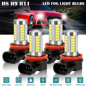 4x H11 H9 H8 Led Headlight Kit High low Beam Fog Driving Bulbs 6500k Xenon White
