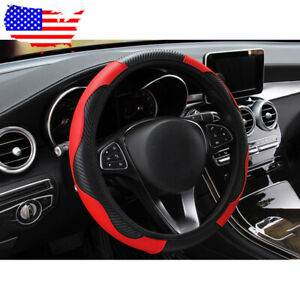 Universal Car Suv Microfiber Leather Steering Wheel Covers 38cm 15 Black Red