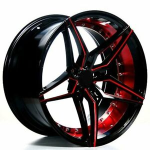 20 Ac Wheels Ac01 Gloss Black Red Inner Extreme Concave Rims b10