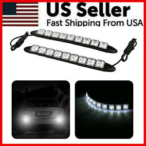 2x White Dc 12v 9 led Daytime Running Light Drl Car Fog Day Driving Lamp Lights