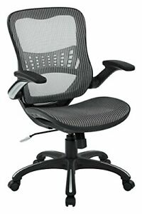 Office Star Mesh Back Seat 2 to 1 Synchro Lumbar Support Managers Chair Grey