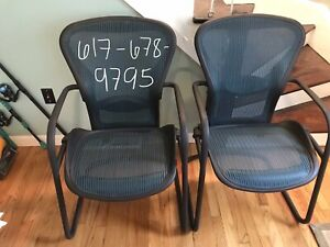 Herman Miller Aeron Side Chairs W Adjustable Lumber 2 Chairs