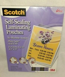 New Scotch Self sealing Laminating Pouchs Letter 9 06 X 11 63 25 Count