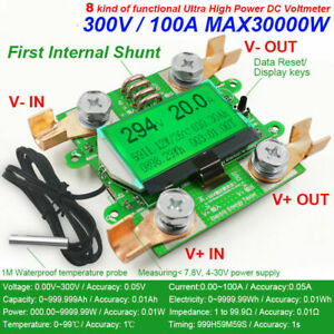 Dc 300v 100a Volt Current Zvs Power Meter Detector Discharge Battery Monitor New