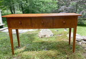 Vintage Bench Made Tiger Maple Server Hunt Or Sideboard Country New England
