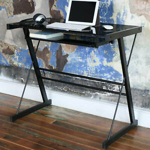 Small Computer Desk Table Keyboard Tray Glass Top Black Pc Laptop Table Writing