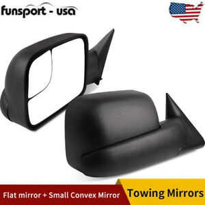 Pair Manual Towing Mirrors Flip Up For 1994 2001 Dodge Ram 1500 94 02 2500 3500