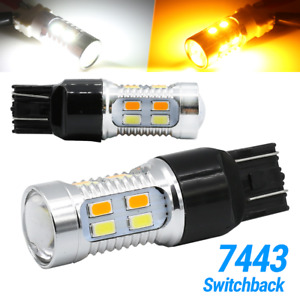 7443 7440 7444 Led Turn Signal Switchback White Amber Drl Parking Light Bulbs Us