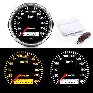 85mm Speedometer 0 220km H Speed Gauge Meter Universal Kit For 12v 24v Car Truck