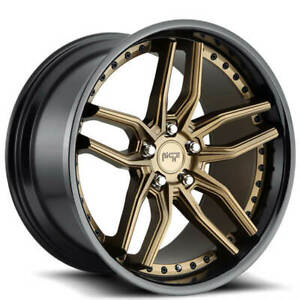 4 20 Staggered Niche Wheels M195 Methos Matte Bronze Face W Gloss Black b47