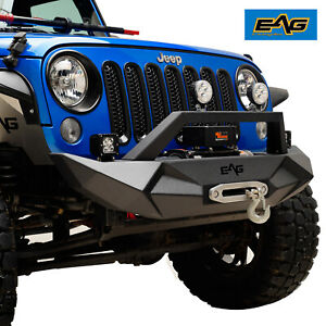 Eag Steel Front Bumper W Winch Plate Fit For 07 18 Jeep Wrangler Jk