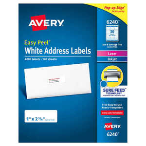 Avery Easy Peel White Address Labels 6240 5160 8160 4200 Labels New sealed