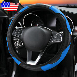 Black Blue Car Suv Microfiber Leather Steering Wheel Covers 38cm 15 Universal