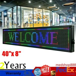 40 x 8 Led Sign Rgb 7 Color Programmable Scrolling Message Board Display Usa