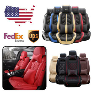 Us Pu Leather Car Seat Covers Waterproof Protector 5 Seats Universal Cushion Set