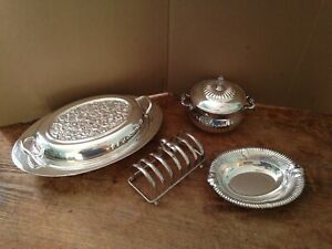 4 Pieces Of Silver Plate Bowl Serving Dish Covered Sugar Toast Holder