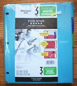Mead Five Star Wipe Off Write On Surface 3 Tabs 2 Pocket Binder Dividers New