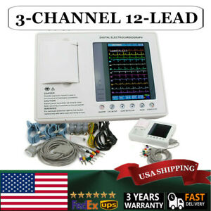 7in 3 channel 12 Lead Digital Ecg Ekg Machine Electrocardiograph Cardiac System
