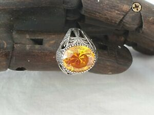 19th Century Indian Silver Citrine Ring