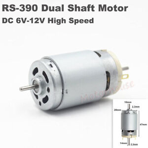 Micro Rs 390 Electric Motor Dc 6v 12v High Speed Large Torque Dual 2 3mm Shaft