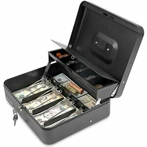 Cash Box With Key Lock Steel Tiered Money Coin Tray Lid Cover And Bill Slots 4