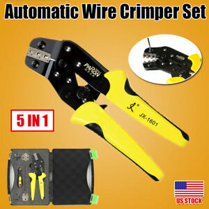 Ratcheting Terminal Plier Wire Strippers Bootlace Crimper Tool Case Cord Kit Set