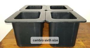 Cambro 66cf110 Cold Fest 1 6 Size Black 6 Deep set Of 4