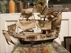 1800 S Antique Wooden Hand Crfated Sail Boat Ship Big 21 X 14 Model