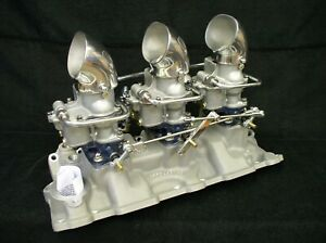 Offenhauser Chevy Tri Power Intake Manifold Holley 94 Vintage Carbs 3x2 Sbc