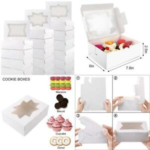 Moretoes 24pcs Cookie Boxes With Window White Bakery Boxes For Cookies Candies