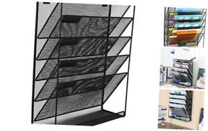 Mesh Wall File Holder 5 Tier Vertical Mount Hanging Organizer With Bottom Fla