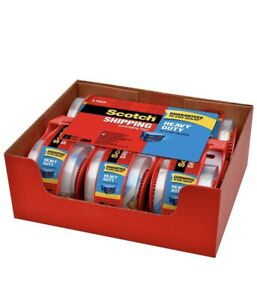 New 3m Scotch Clear Shipping Packing Tape 2x800 6 Rolls W dispenser Heavy Duty