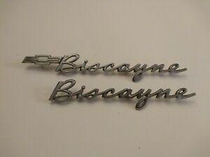 1962 62 Chevrolet Biscayne Gm Chrome 1 4 Panel Script Emblem 4851161 With Extra