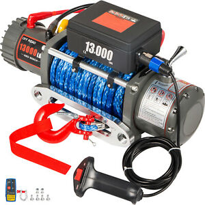 13000lbs Electric Winch 12v Synthetic Rope Off road Atv Utv Truck Towing Trailer