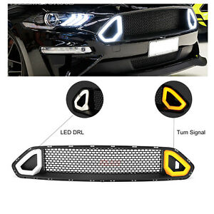 New For Ford Mustang 2018 2019 Front Upper Grill Grille With Led Light Us Stock