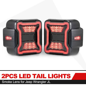 2x Led Tail Lights Smoked Lens W Reverse Turn Signal Lights For Jeep Wrangler Jl