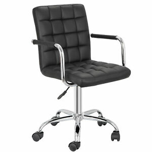 Office Chair Leather Midback Adjustable Home Computer Executive Chair On Wheels