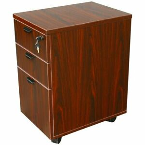 Boss Office 3 Drawer Wooden Mobile Pedestal File Cabinet In Mahogany