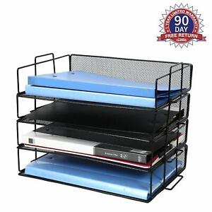 4 Tier Desk Top File Organizer Mesh Metal Trays Desktop Document Holder Folder