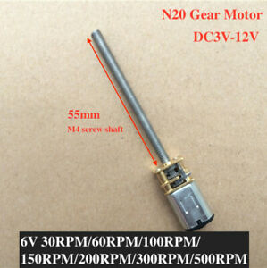 Micro Mini Dc 3v 12v 5v 6v N20 Full Metal Gear Motor Long Screw M4 Thread Shaft