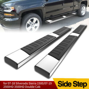 For 07 19 Silverado Double Extended Cab 6 Running Boards Nerf Bars Side Step 2x