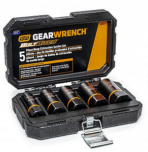 Gearwrench Kd 86070 5 Pc 1 2 Drive Bolt Biter Deep Extraction Socket Set