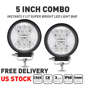 Pair 5inch Round Led Work Lights 60w Spot Flood Driving Fog Lamp Suv Atv Truck