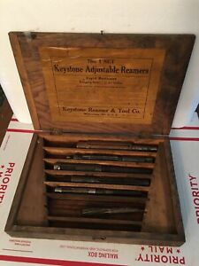 Old Keystone Reamer Tool Co Adjustable Reamers Set No 1 Reamers Wood Case