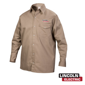 Genuine Lincoln Electric K3382 xl Khaki Fr Welding Shirt Extra Large