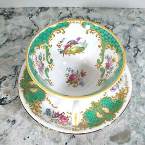 Copelands Grosvenor China Rutland Pheasant Cup And Mismatched Saucer