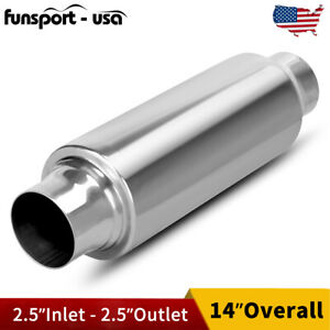 Exhaust Turbine Muffler Resonator 2 5 Inlet outlet Stainless Steel 14 Overall