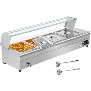 Bain Marie Food Warmer Commercial Food Steam Table 4 Pans With Glass Shield