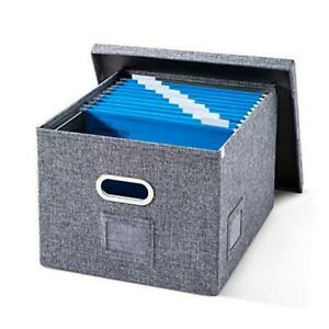 File Organizer Box With Folders Collapsible Hanging File Storage With Smooth Sl